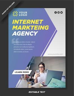 Плакат агентства интернет-маркетинга и шаблон в социальных сетях