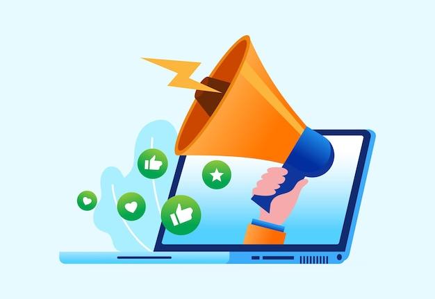 Интернет-маркетинг и реклама спикер плоская векторная иллюстрация для баннера и целевой страницы