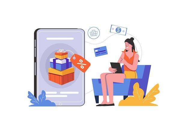 Концепция интернет-маркетинга. женщина покупает товары или услуги в интернете, получает подарки и скидки, люди сцены изолированы. продвижение и привлечение клиентов. векторная иллюстрация в плоском минималистском дизайне