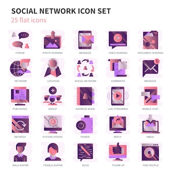 Internet marketing and social network icons set