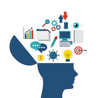 Internet media icon and human head design. vector graphic