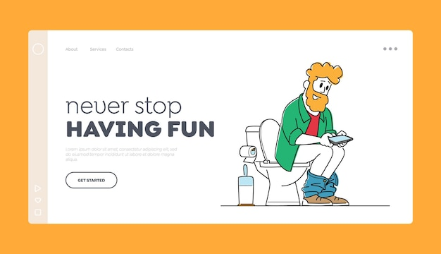 Internet and mobile addiction landing page template.