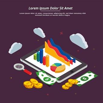 インターネットのお金、成長または投資のコンセプト。 fintech(金融技術)の背景、3dスタイル。