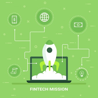 Internet money growth or startup concept. fin-tech (financial technology) background.