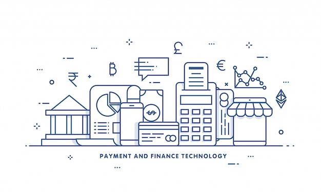 Internet money, payment security concept. fintech (financial technology) background. flat illustration style.