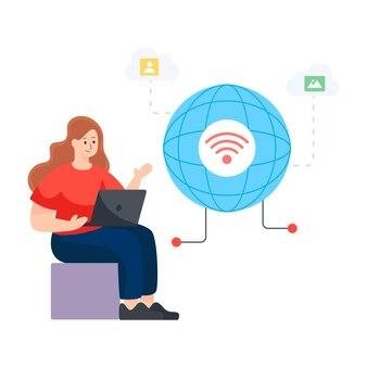 インターネットネットワークフラットイラストデザインベクトル