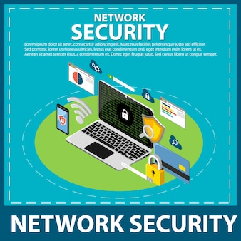 Internet and network security isometric icons