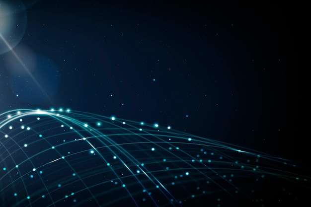 Internet networking technology background vector with blue digital wave