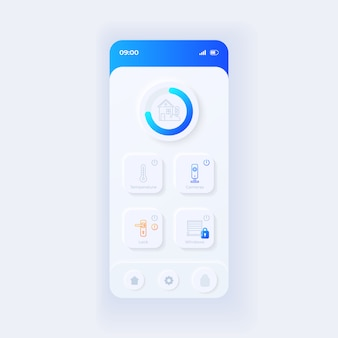 モノのインターネットアプリケーションスマートフォンインターフェイステンプレート。モバイルアプリページの光のデザインレイアウト。スマートホーム画面。アプリケーションのui。電話ディスプレイのセキュリティと温度調節。