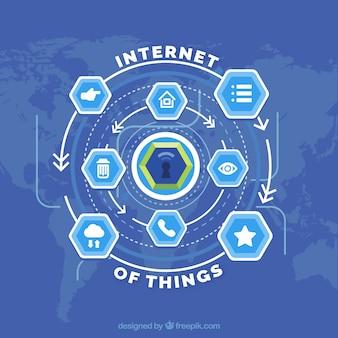 Интернет фона вещей с шестиугольниками