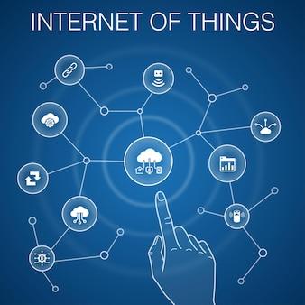 モノのインターネットの概念、青い背景。ダッシュボード、クラウドコンピューティング、スマートアシスタント、同期アイコン
