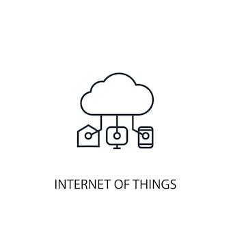Значок линии концепции интернет вещей. простая иллюстрация элемента. интернет вещей концепции наброски символа дизайна. может использоваться для веб- и мобильных ui / ux