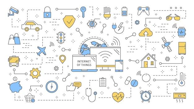 사물 개념의 인터넷. 현대 글로벌 기술. 장치와 가전 제품 간의 연결. 스마트 홈의 아이디어. 삽화