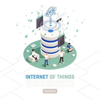 Концепция дизайна интернета вещей с маленькими человеческими персонажами, использующими гаджеты для хранения данных