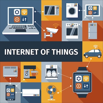 Internet of things flat icons composition