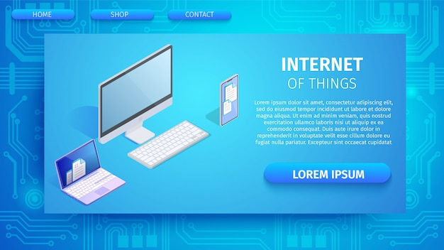 Интернет вещей горизонтальный баннер, копия пространства.