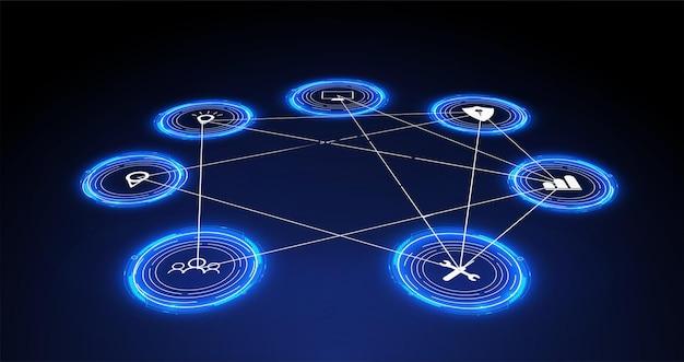 Интернет вещей (iot) и концепция сети для подключенных устройств. паутина сетевых подключений на футуристическом синем фоне. концепция цифрового дизайна. голограмма интернета вещей