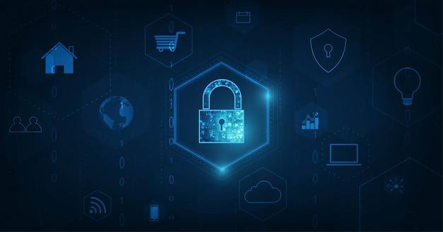 Internet of things (iot) concept. 진한 파란색 배경에 안전한 네트워크 연결성을 갖춘 물리적 장치의 빅 데이터 클라우드 컴퓨팅 네트워크.