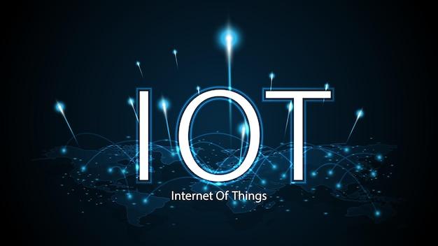 Интернет вещей. концепция подключения к интернету вещей. сетевой глобальный фон технологии подключения