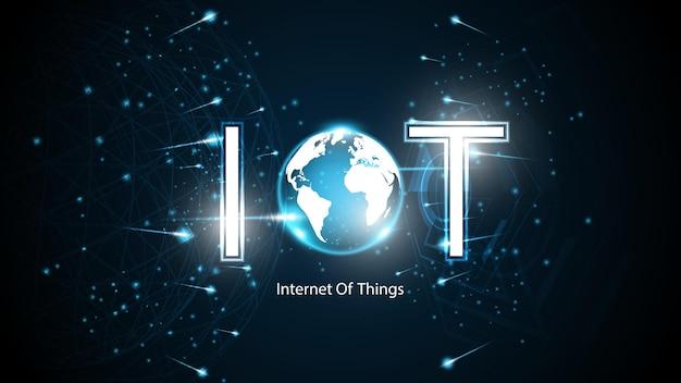 モノのインターネット。 iot接続の概念。ネットワークグローバル接続技術の背景
