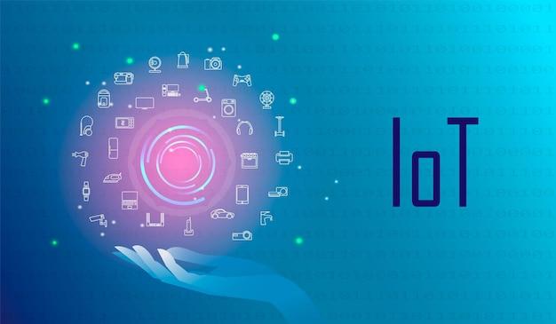 Набор концепций интернета вещей, iot, устройств и сетевых подключений. все устройства управляются из центра. гаджеты общаются друг с другом через интернет. футуристический синий цвет фона