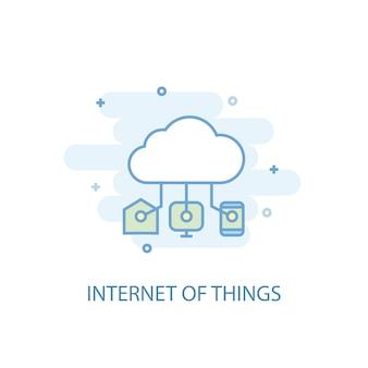 Концепция линии интернет вещей. значок простой линии, цветные рисунки. интернет вещей символ плоский дизайн. может использоваться для ui / ux