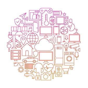 モノのインターネットラインアイコンサークル。スマートホームテクノロジーオブジェクトのベクトルイラスト。