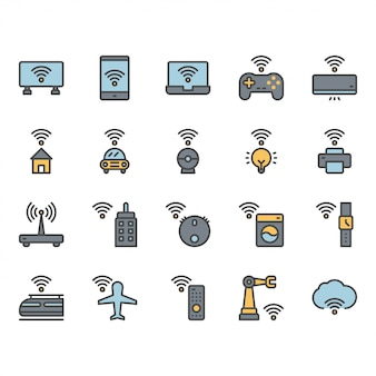 Интернет вещей, связанных значок и набор символов