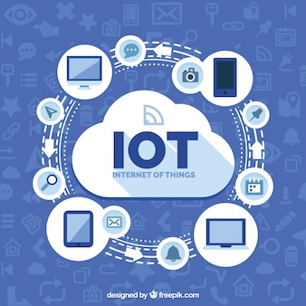 Internet of things with cloud background