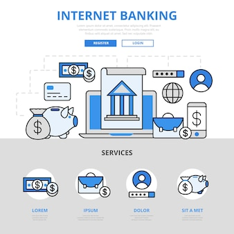 インターネットオンラインバンキングは、アカウントコンセプトのフラットラインスタイルを管理します。
