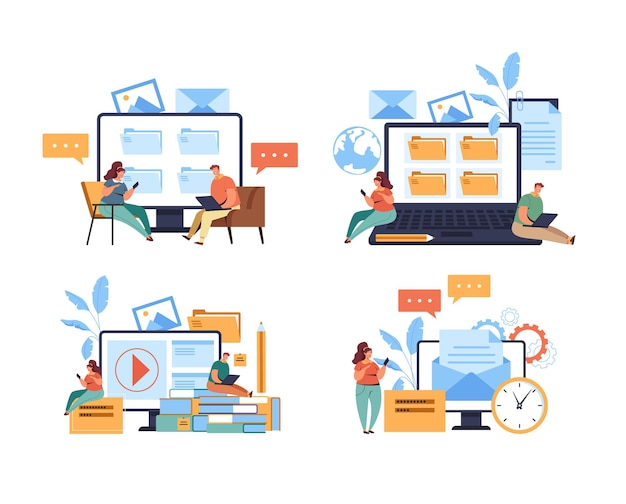 インターネットオンライン教育学習ウェブサイトの使用と情報検索の概念