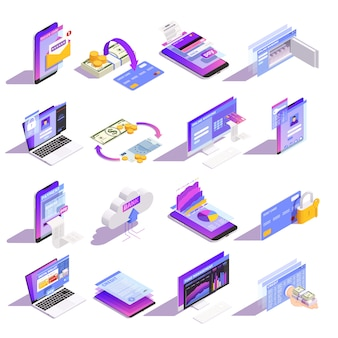 Internet online mobile banking services isometric icons collection with loading money onto card building credit