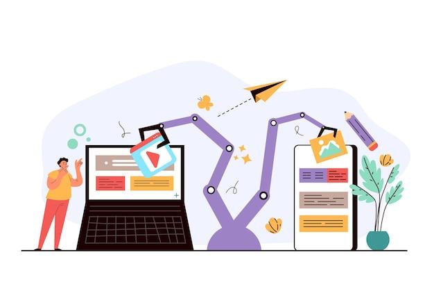 의사 소통을 돕고 소셜 미디어 활동 개념을 만드는 인터넷 온라인 로봇 봇 프리미엄 벡터