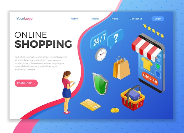 Internet online shopping landing page template
