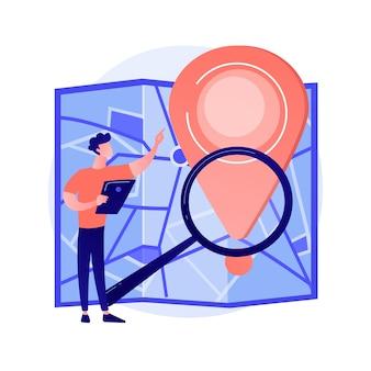 Monitoraggio della consegna degli ordini via internet. elemento di design piatto del sito web di servizio di navigatore gps. puntatore, lente d'ingrandimento, mappa. pianificazione online del percorso, illustrazione del concetto di ricerca del percorso