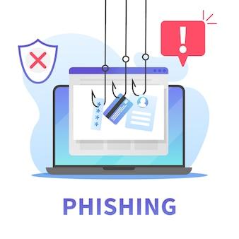 インターネットフィッシング、クレジットカードデータ、アカウントパスワード、ユーザーidの盗用。インターネットブラウザまたはメールを介して個人情報をハッキングする概念。インターネットのセキュリティ意識。