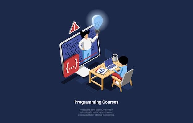 Internet programming courses illustration in cartoon 3d style on blue dark background.