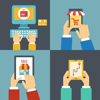 Set di illustrazione di acquisto su internet