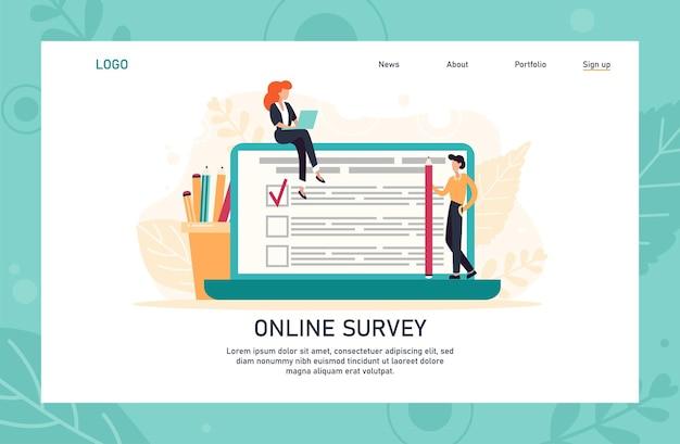 インターネットアンケートウェブバナー、ビジネスコンセプトのホームページデザイン。巨大なノートパソコンの画面でオンライン調査フォームに記入する文字。フラットベクトルイラスト。