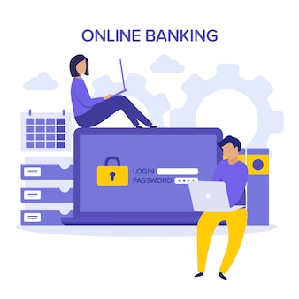 Internet safety. account verification and online banking concept. character purple yellow illustration. sign in to account, user authorization, login authentication page concept. username, password.