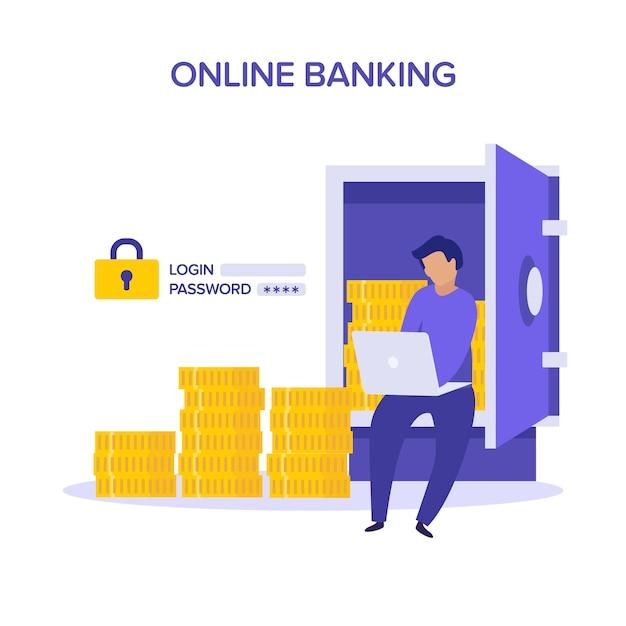 インターネットの安全性。アカウント検証オンラインバンキングのコンセプトです。開いている安全な紫と黄色のイラストがフラットな文字。銀行の金庫室の開いたドアの後ろのお金。ユーザー名パスワード。