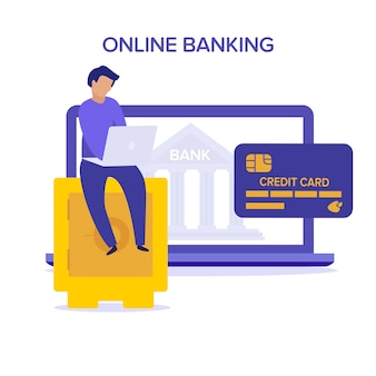Internet safety. account verification online banking concept. flat    character with open safe purple and yellow illustration. money behind the open door of the bank vault. username, password.