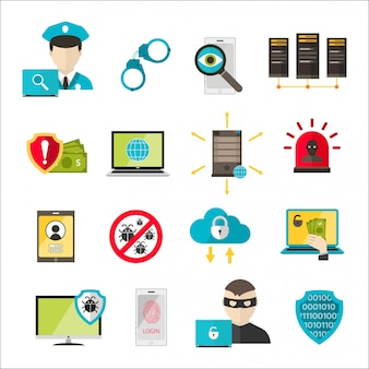 Internet safety icons virus cyber attack
