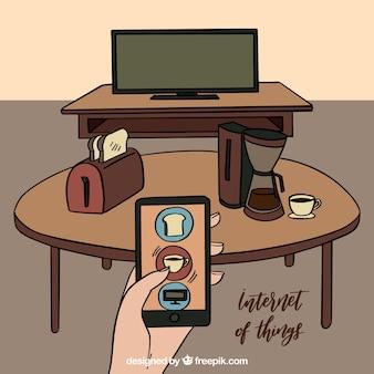 Scena di internet di cose con il cellulare