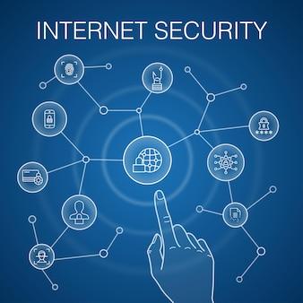 インターネットセキュリティの概念、青い背景。サイバーセキュリティ、指紋スキャナー、データ暗号化、パスワードアイコン
