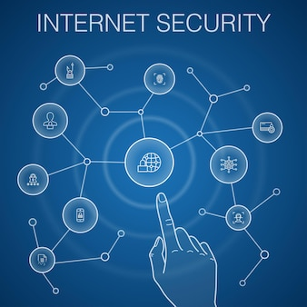Internet security concept, blue background.cyber security, fingerprint scanner, data encryption, passwordicons