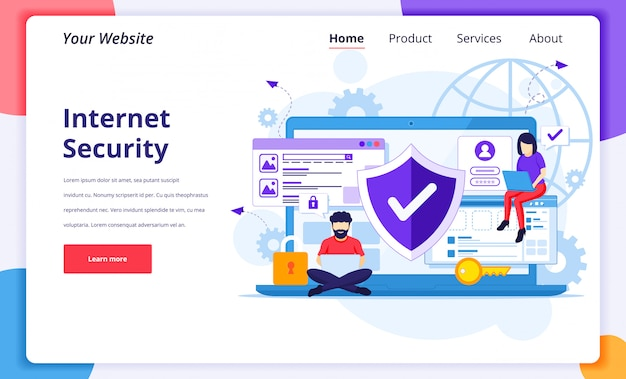 Internet security concept, people work on laptop, secure internet connection. landing page design template