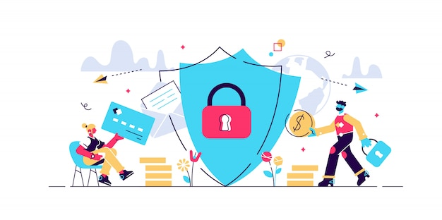 Internet security concept for web page, banner, presentation, social media, documents, cards, posters. illustration data security, computer security, app programming technology and software .