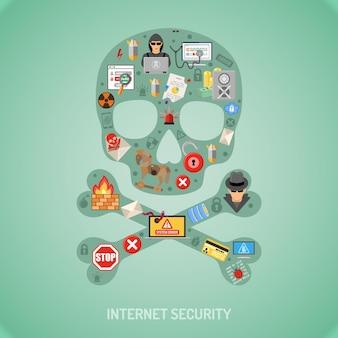 Концепция безопасности в интернете с плоским набором иконок для листовок, плакатов, веб-сайтов, полиграфической рекламы, например, хакеров, вирусов, спама и воров.