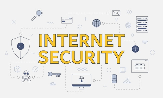 Концепция безопасности в интернете с набором значков с большим словом или текстом в центре векторной иллюстрации
